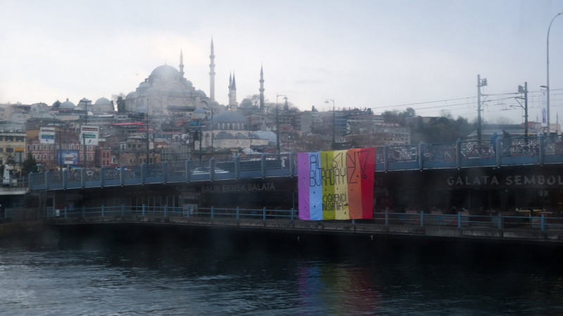 Rainbow flag hanged on Galata Bridge